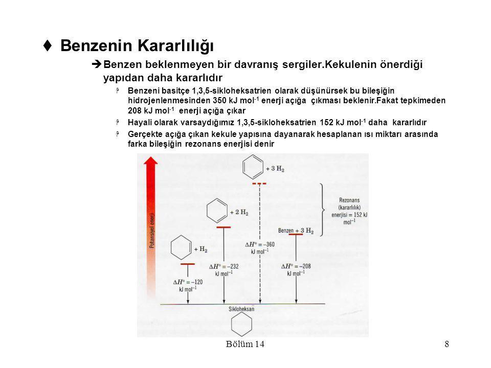 Bölüm 149  Benzenin Yapısı İle İlgili Modern Teoriler Benzenin Yapısının Rezonansla Açıklanması  I ve II yapıları gerçek molekül yapıları değildir,değerlik teorisinin basit kurallarıyla ulaşabileceğimiz en yakın yapılardır  Rezonans teorisi bir molekül için sadece elektronların konumlarının farklı olduğu iki veya daha fazla lewis yapısı yazılabildiğinde,bu yapıların hiçbirisinin bileşiğin fiziksel ve kimyasal özellikleri ile tam uyum içerisinde olmadığı esasına dayanır  Benzendeki karbon-karbon bağı uzunluğu 1.39 Å ve bu değer sp 2 melezleşmiş atomlardaki karbon-karbon birli bağları için olan değerle karbon-karbon ikili bağları için bulunan değer(1.33 Å) arasındadır  Melez yapı düzgün altıgen içinde bir daire çizilerek gösterilir ve bu yeni formül benzen için günümüzde en çok kullanılan formüldür (III)