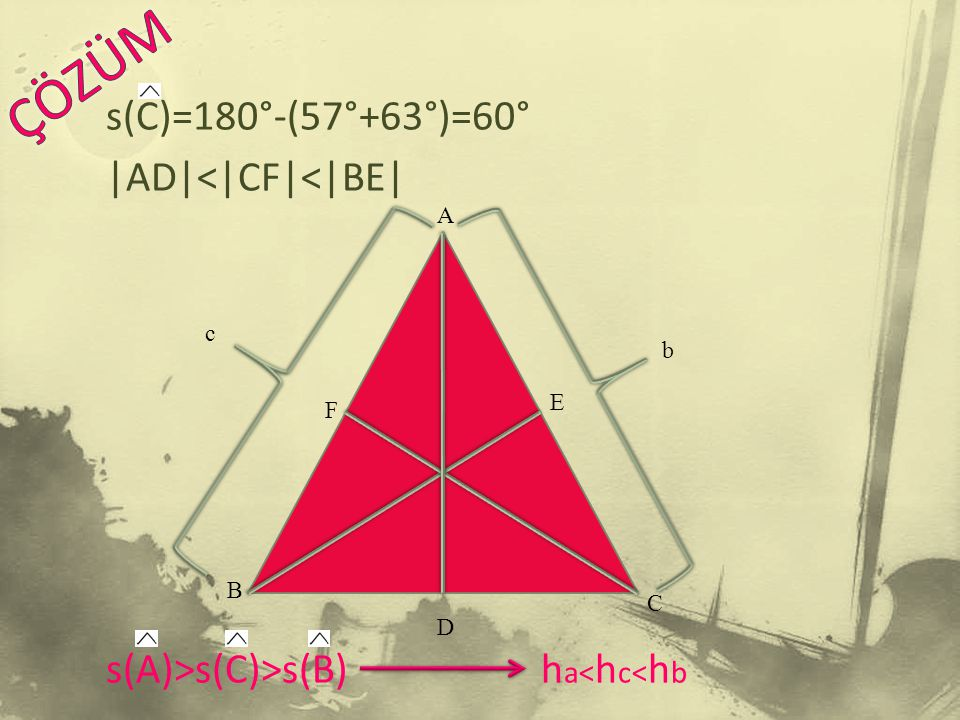 s(C)=180°-(57°+63°)=60°  AD < CF < BE  s(A)>s(C)>s(B) h a< h c< h b c C A D B b E F