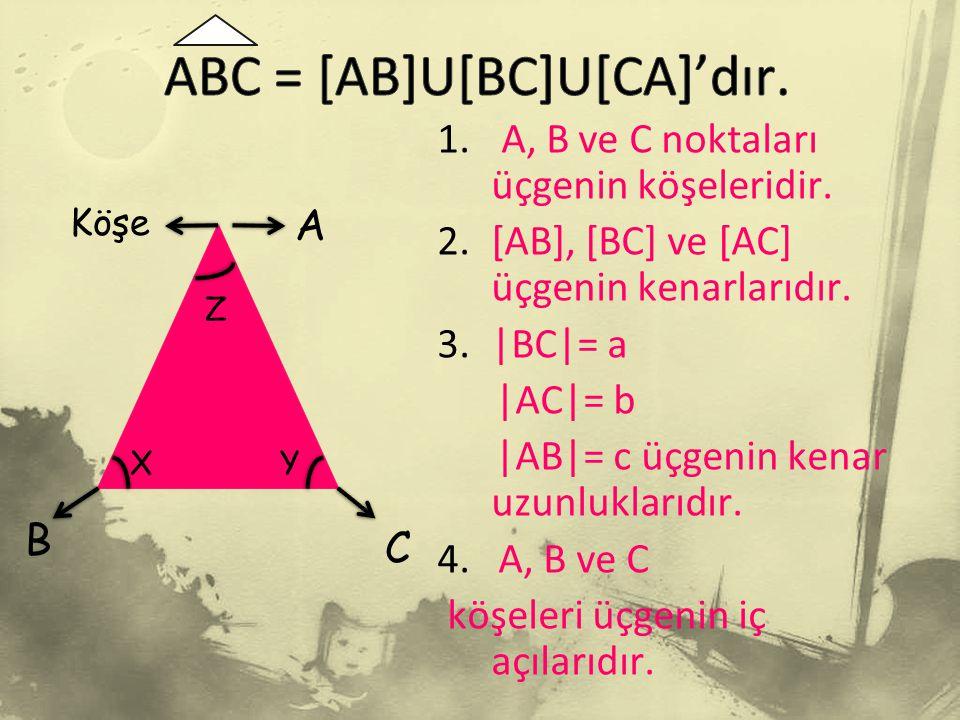 A C B Köşe Z XY 1.A, B ve C noktaları üçgenin köşeleridir.