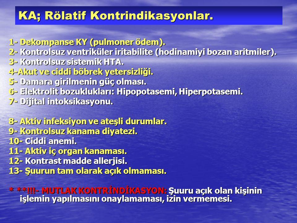 KA; Rölatif Kontrindikasyonlar. 1- Dekompanse KY (pulmoner ödem).