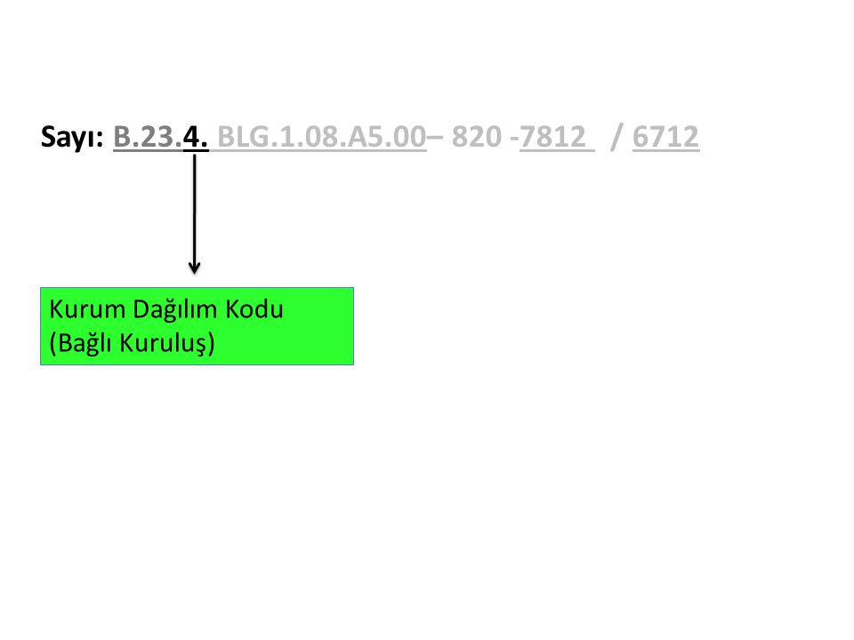Sayı: B.23.4. BLG.1.08.A5.00– 820 -7812 / 6712 Kurum Dağılım Kodu (Bağlı Kuruluş)