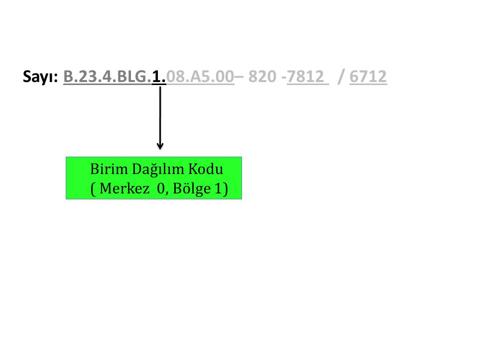 Sayı: B.23.4.BLG.1.08.A5.00– 820 -7812 / 6712 Birim Dağılım Kodu ( Merkez 0, Bölge 1)