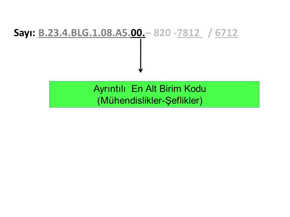 Sayı: B.23.4.BLG.1.08.A5.00.– 820 -7812 / 6712 Ayrıntılı En Alt Birim Kodu (Mühendislikler-Şeflikler)