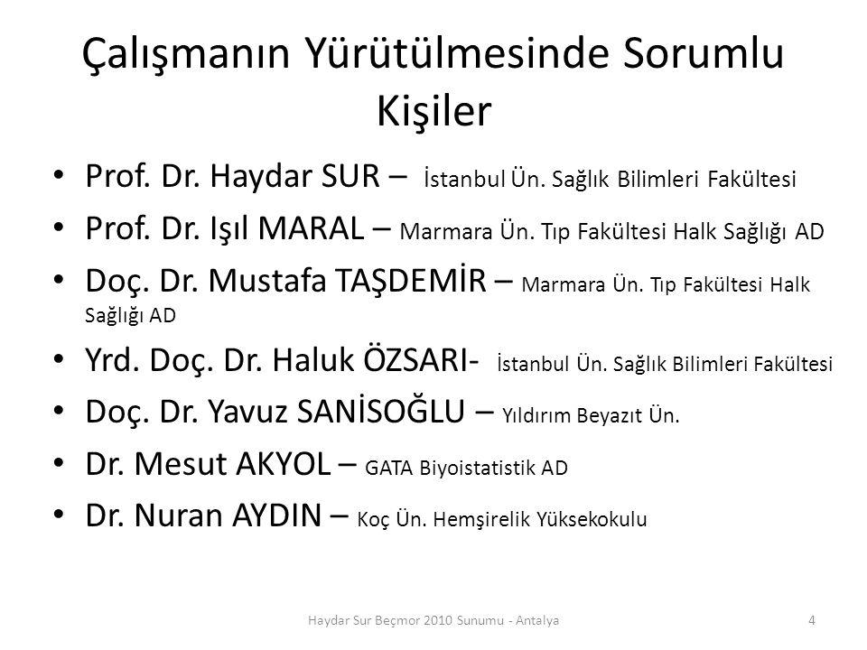 Veri Toplama 4 hafta sürdü Anket formları kargo ile merkeze (İstanbul) gönderildi Veri kalitesi denetlendi Bazı anketlerin tekrarı, bazı telefon sorgulamaları..
