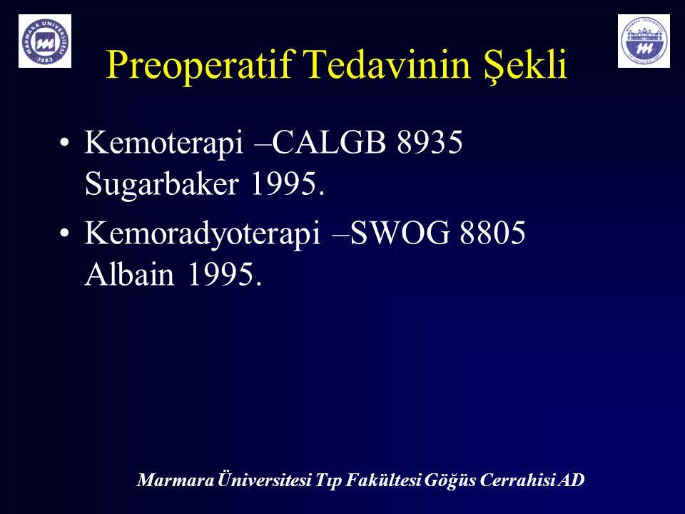Marmara Üniversitesi Tıp Fakültesi Göğüs Cerrahisi AD Preoperatif Tedavinin Şekli Kemoterapi –CALGB 8935 Sugarbaker 1995. Kemoradyoterapi –SWOG 8805 A