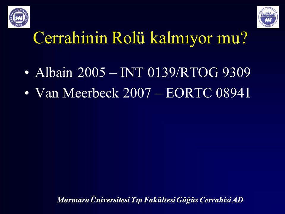 Marmara Üniversitesi Tıp Fakültesi Göğüs Cerrahisi AD Cerrahinin Rolü kalmıyor mu? Albain 2005 – INT 0139/RTOG 9309 Van Meerbeck 2007 – EORTC 08941