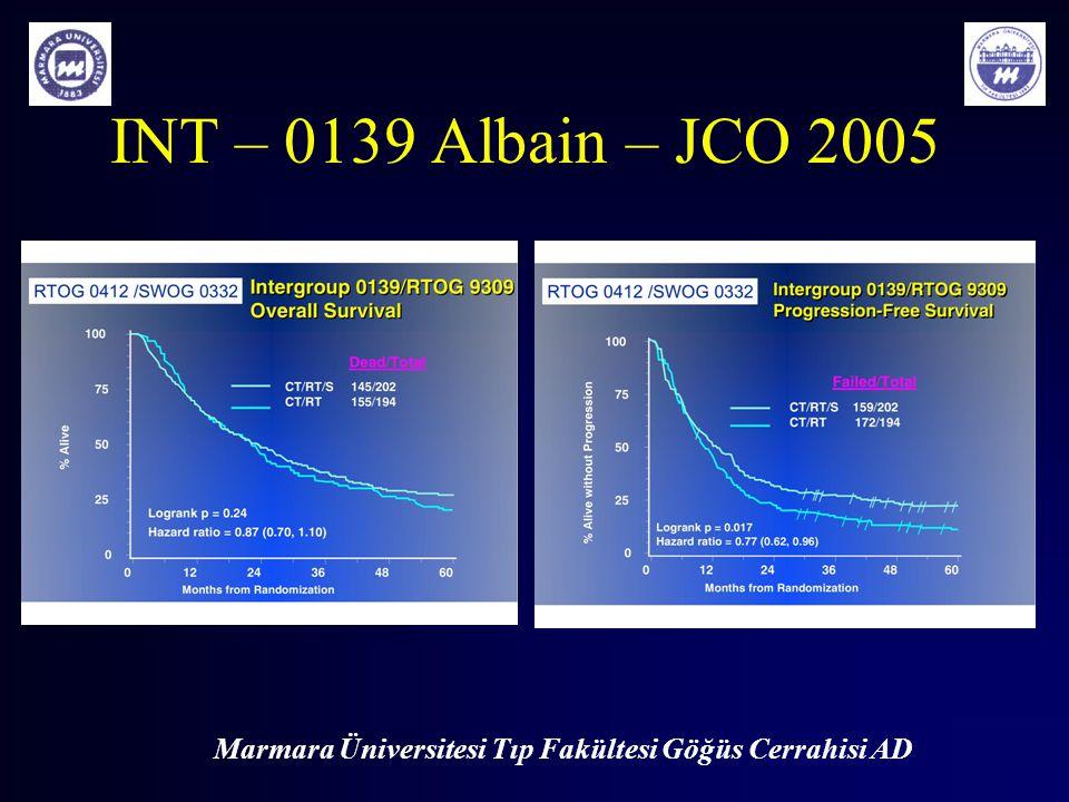Marmara Üniversitesi Tıp Fakültesi Göğüs Cerrahisi AD INT – 0139 Albain – JCO 2005