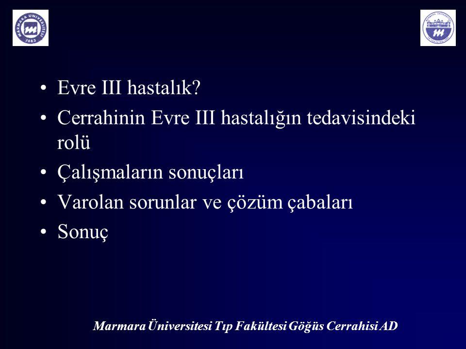 Marmara Üniversitesi Tıp Fakültesi Göğüs Cerrahisi AD Evre III hastalık? Cerrahinin Evre III hastalığın tedavisindeki rolü Çalışmaların sonuçları Varo