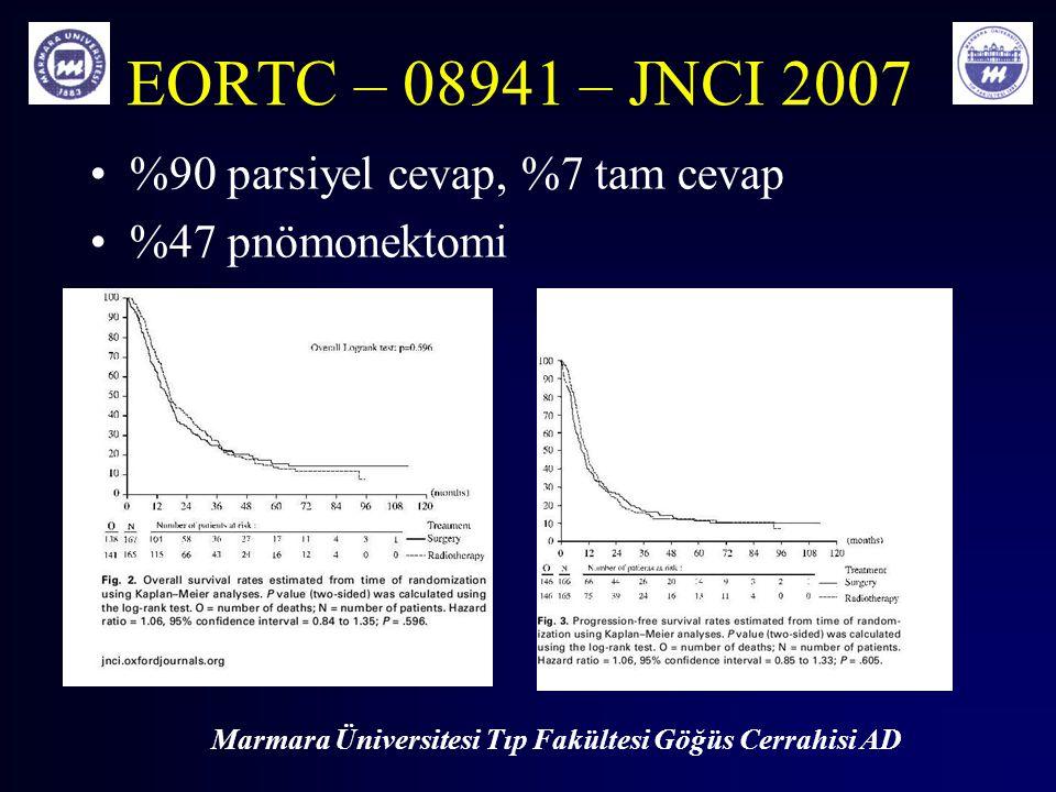 Marmara Üniversitesi Tıp Fakültesi Göğüs Cerrahisi AD EORTC – 08941 – JNCI 2007 %90 parsiyel cevap, %7 tam cevap %47 pnömonektomi