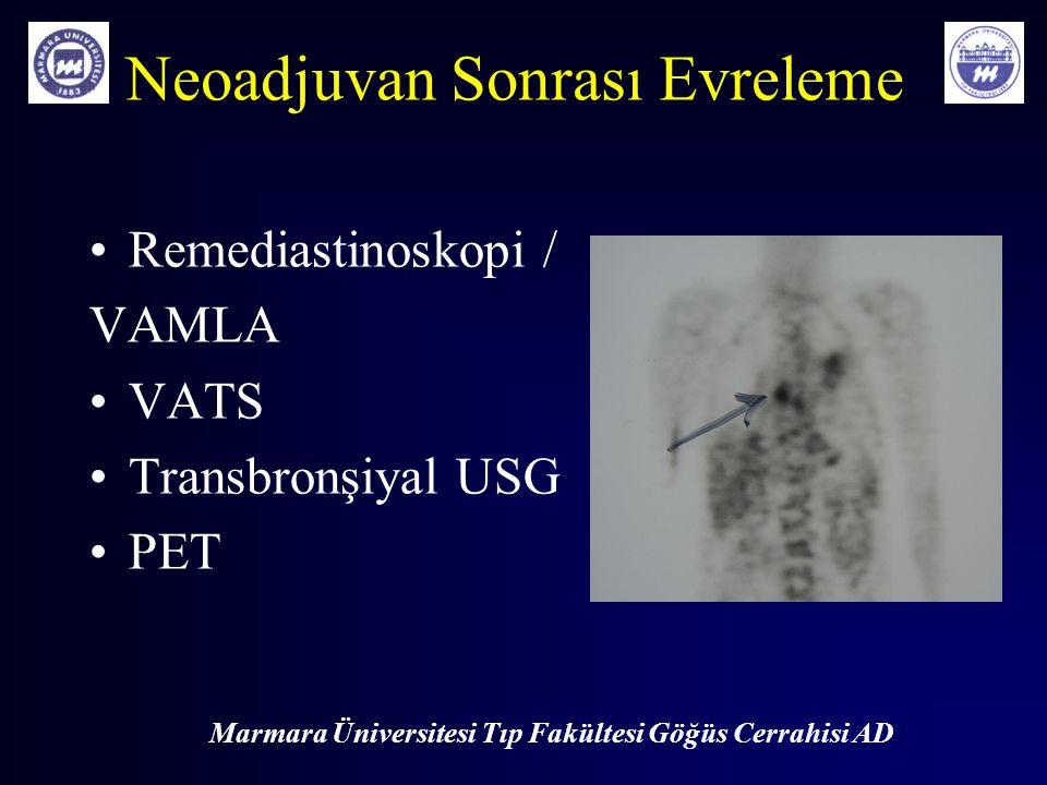 Marmara Üniversitesi Tıp Fakültesi Göğüs Cerrahisi AD Neoadjuvan Sonrası Evreleme Remediastinoskopi / VAMLA VATS Transbronşiyal USG PET