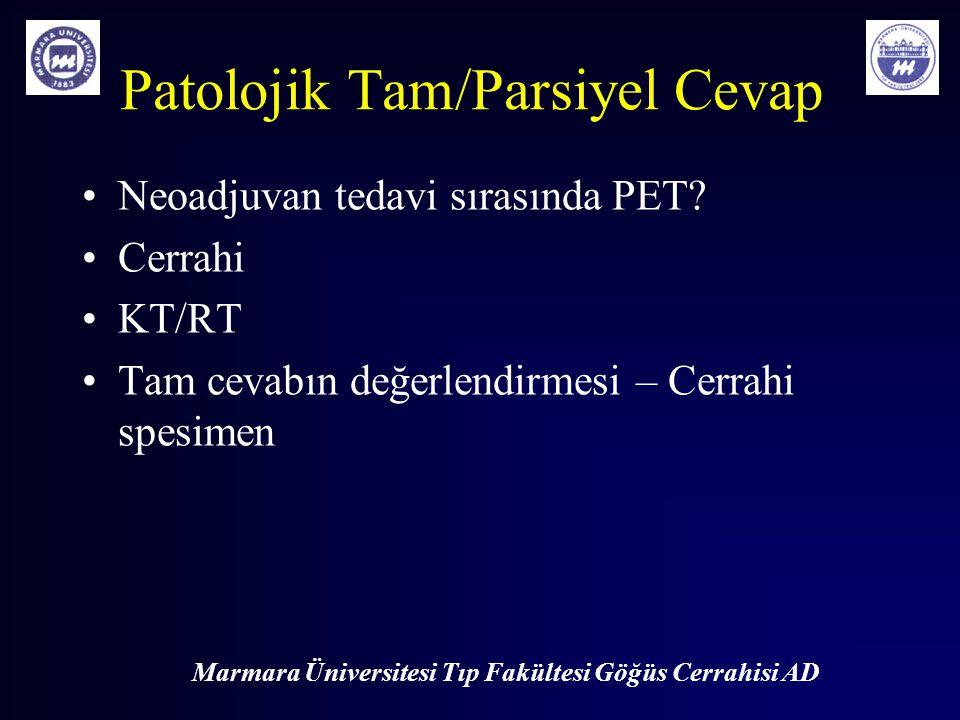 Marmara Üniversitesi Tıp Fakültesi Göğüs Cerrahisi AD Patolojik Tam/Parsiyel Cevap Neoadjuvan tedavi sırasında PET? Cerrahi KT/RT Tam cevabın değerlen