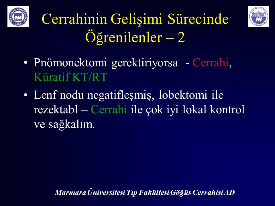 Marmara Üniversitesi Tıp Fakültesi Göğüs Cerrahisi AD Cerrahinin Gelişimi Sürecinde Öğrenilenler – 2 Pnömonektomi gerektiriyorsa - Cerrahi, Küratif KT