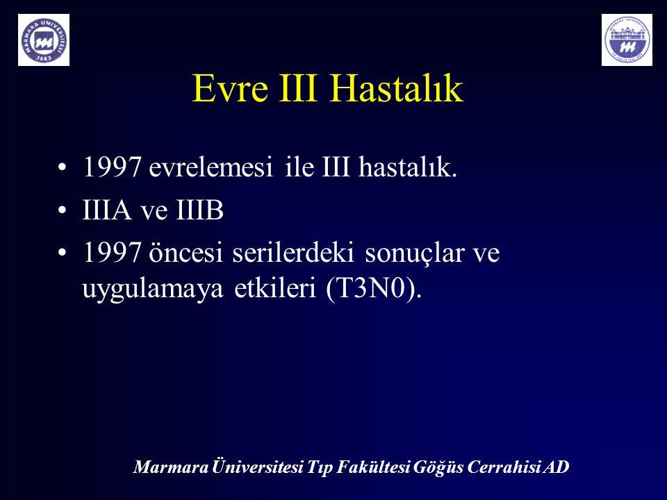 Marmara Üniversitesi Tıp Fakültesi Göğüs Cerrahisi AD Evre III Hastalık 1997 evrelemesi ile III hastalık. IIIA ve IIIB 1997 öncesi serilerdeki sonuçla