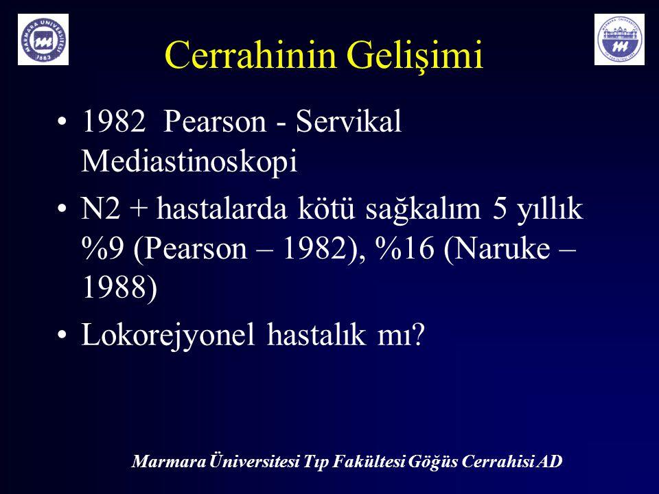 Marmara Üniversitesi Tıp Fakültesi Göğüs Cerrahisi AD Cerrahinin Gelişimi 1982 Pearson - Servikal Mediastinoskopi N2 + hastalarda kötü sağkalım 5 yıll