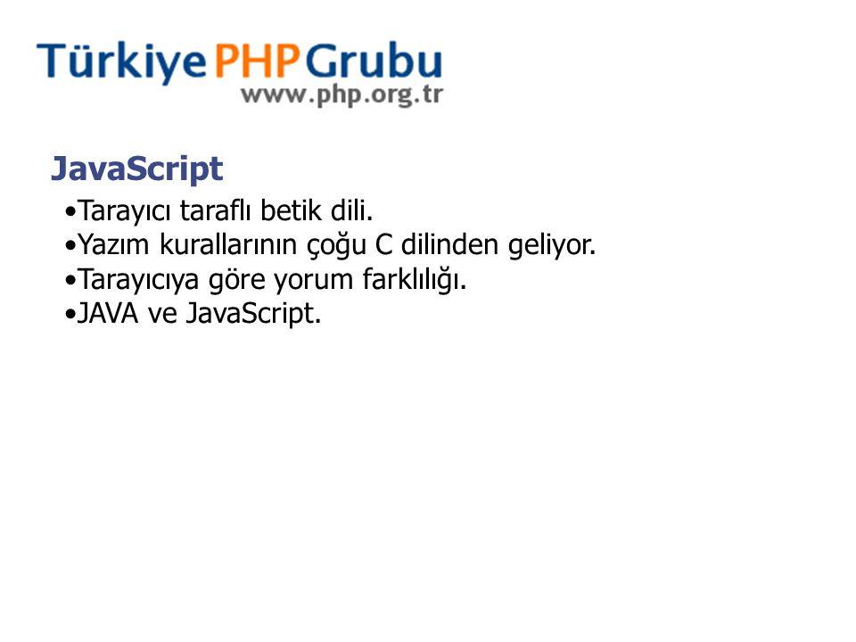 JavaScript Tarayıcı taraflı betik dili. Yazım kurallarının çoğu C dilinden geliyor. Tarayıcıya göre yorum farklılığı. JAVA ve JavaScript.