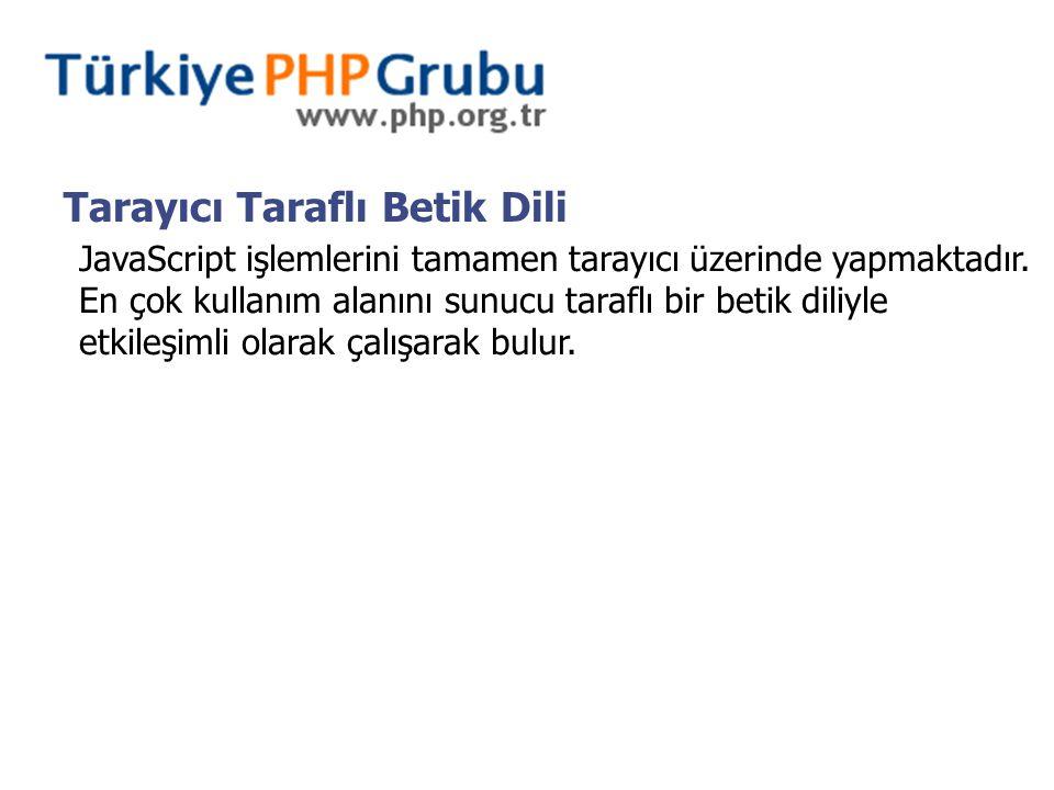 Tarayıcı Taraflı Betik Dili JavaScript işlemlerini tamamen tarayıcı üzerinde yapmaktadır. En çok kullanım alanını sunucu taraflı bir betik diliyle etk
