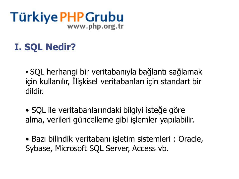 I. SQL Nedir? SQL herhangi bir veritabanıyla bağlantı sağlamak için kullanılır, İlişkisel veritabanları için standart bir dildir. SQL ile veritabanlar