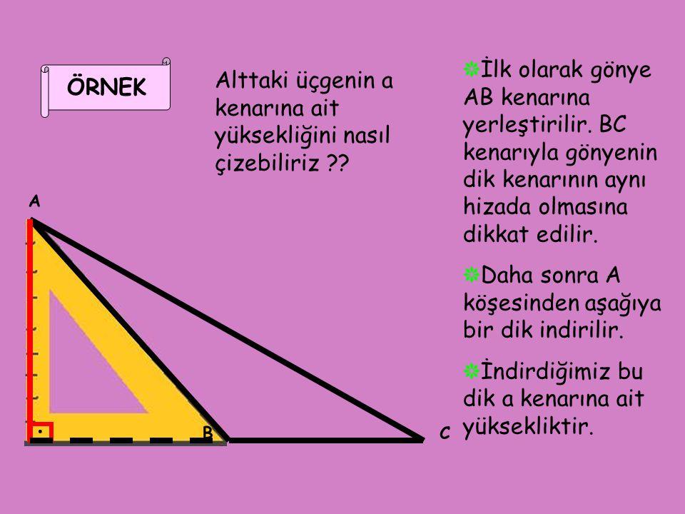 ÖRNEK A BC Alttaki üçgenin a kenarına ait yüksekliğini nasıl çizebiliriz ?? ❋ İlk olarak gönye AB kenarına yerleştirilir. BC kenarıyla gönyenin dik ke