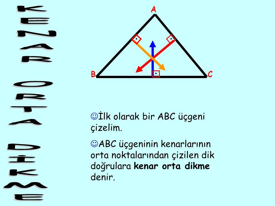 ... İlk olarak bir ABC üçgeni çizelim. ABC üçgeninin kenarlarının orta noktalarından çizilen dik doğrulara kenar orta dikme denir. A BC