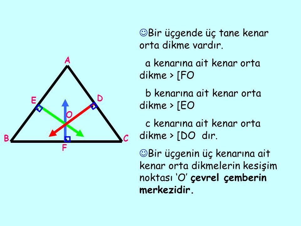 ... Bir üçgende üç tane kenar orta dikme vardır. a kenarına ait kenar orta dikme > [FO b kenarına ait kenar orta dikme > [EO c kenarına ait kenar orta