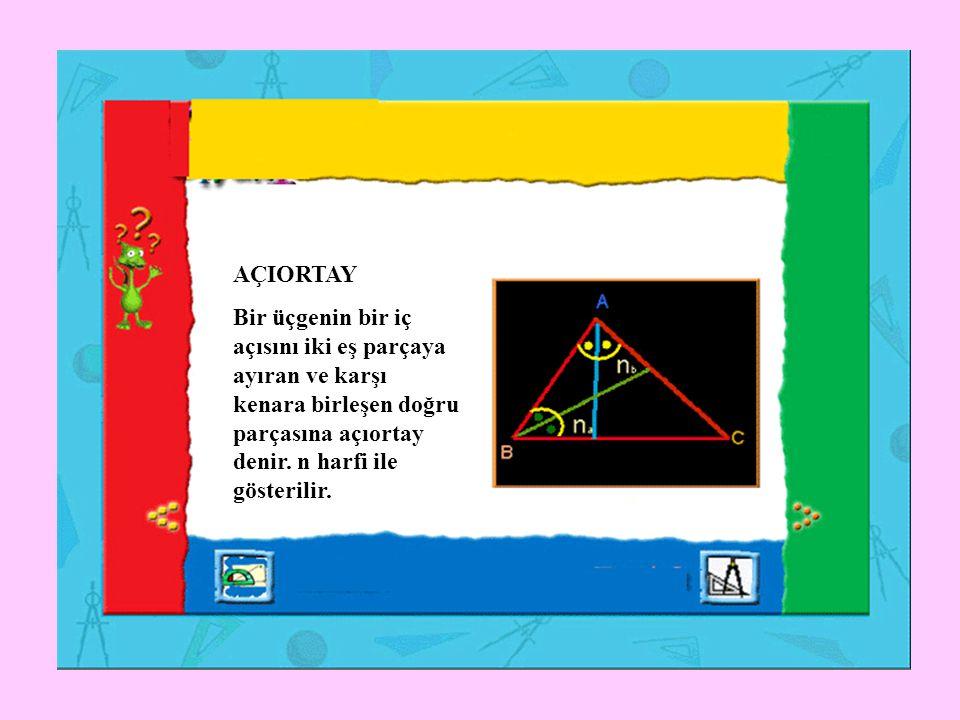 AÇIORTAY Bir üçgenin bir iç açısını iki eş parçaya ayıran ve karşı kenara birleşen doğru parçasına açıortay denir. n harfi ile gösterilir.