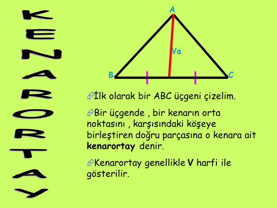 A BC Va  İlk olarak bir ABC üçgeni çizelim.  Bir üçgende, bir kenarın orta noktasını, karşısındaki köşeye birleştiren doğru parçasına o kenara ait k