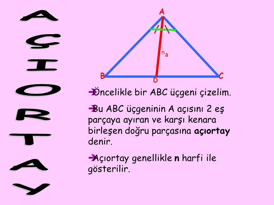 A BC D ÖÖncelikle bir ABC üçgeni çizelim. BBu ABC üçgeninin A açısını 2 eş parçaya ayıran ve karşı kenara birleşen doğru parçasına açıortay denir.