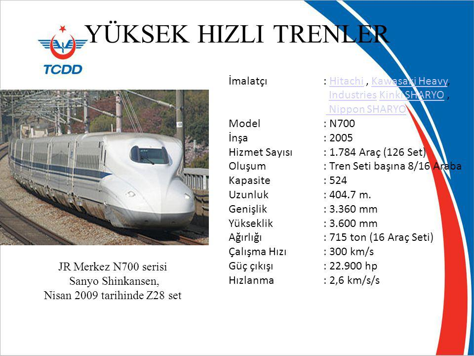 YÜKSEK HIZLI TRENLER JR Merkez N700 serisi Sanyo Shinkansen, Nisan 2009 tarihinde Z28 set İmalatçı: Hitachi, Kawasaki Heavy,HitachiKawasaki Heavy Indu
