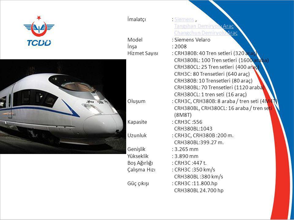 Çin Demiryolla rı CRH3C İmalatçı: Siemens,Siemens Tangshan Demiryolu Araç Changchun Demiryolu Araç Model: Siemens Velaro İnşa: 2008 Hizmet Sayısı: CRH