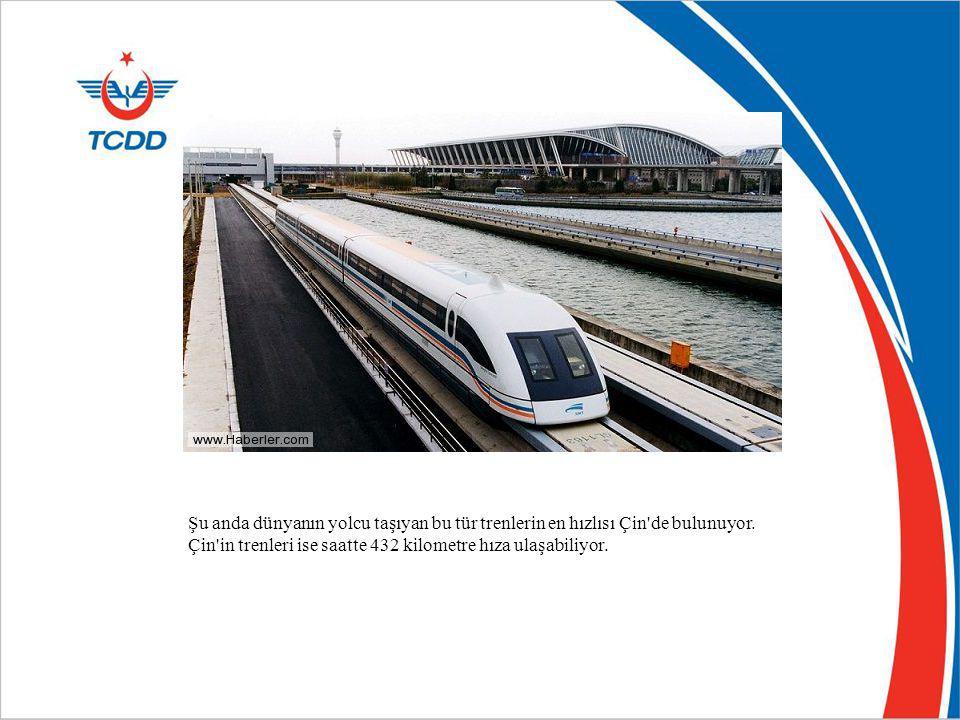 Şu anda dünyanın yolcu taşıyan bu tür trenlerin en hızlısı Çin'de bulunuyor. Çin'in trenleri ise saatte 432 kilometre hıza ulaşabiliyor.