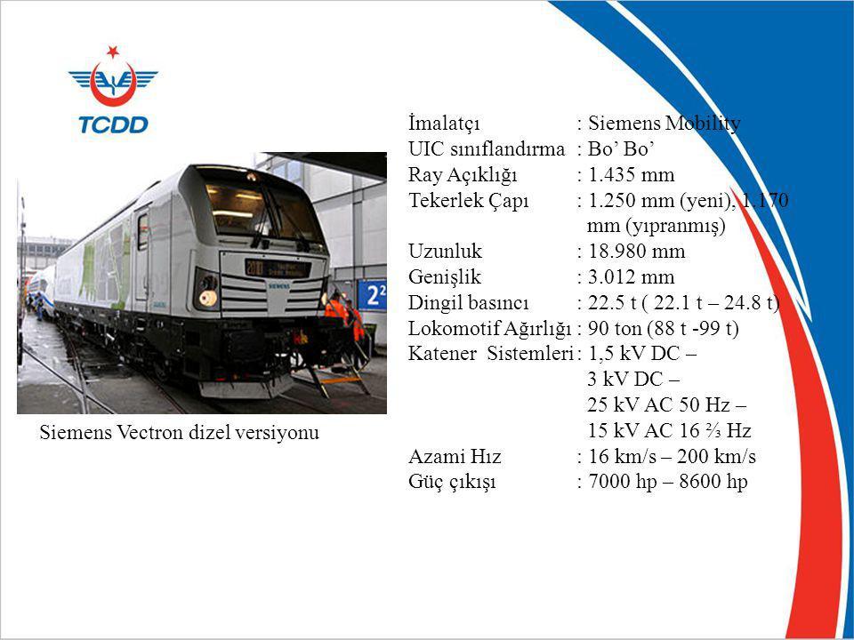 Siemens Vectron dizel versiyonu İmalatçı: Siemens Mobility UIC sınıflandırma: Bo' Bo' Ray Açıklığı: 1.435 mm Tekerlek Çapı: 1.250 mm (yeni), 1.170 mm