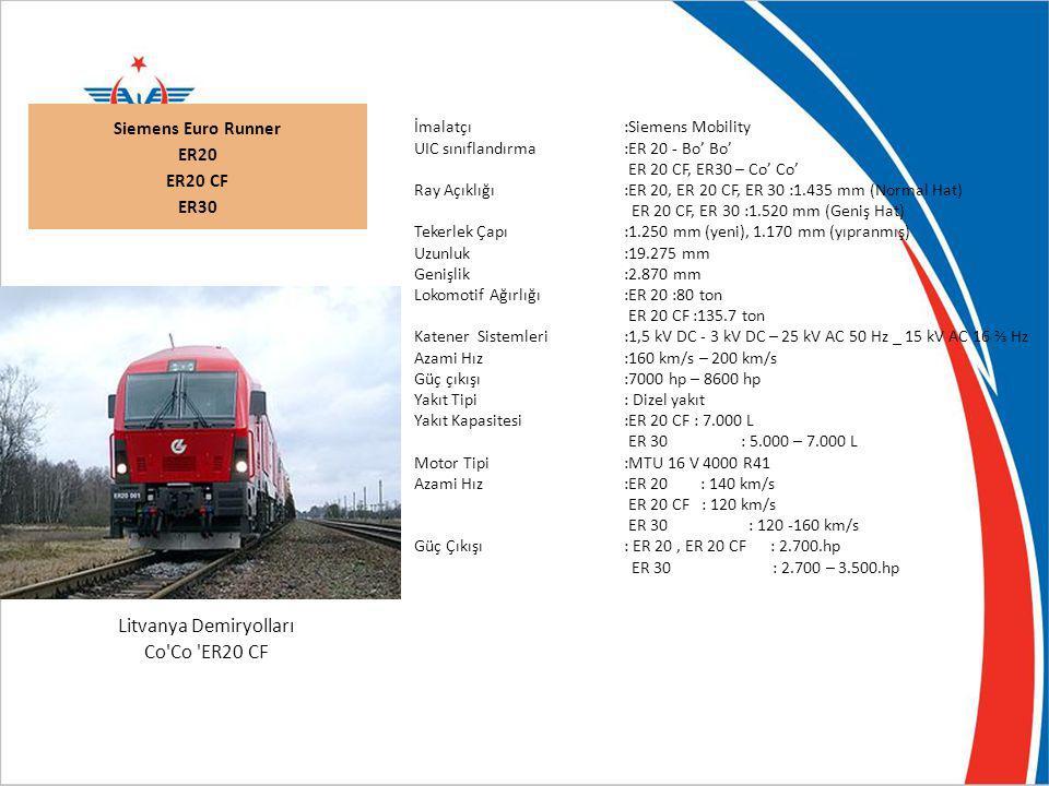 İmalatçı:Siemens Mobility UIC sınıflandırma:ER 20 - Bo' Bo' ER 20 CF, ER30 – Co' Co' Ray Açıklığı:ER 20, ER 20 CF, ER 30 :1.435 mm (Normal Hat) ER 20