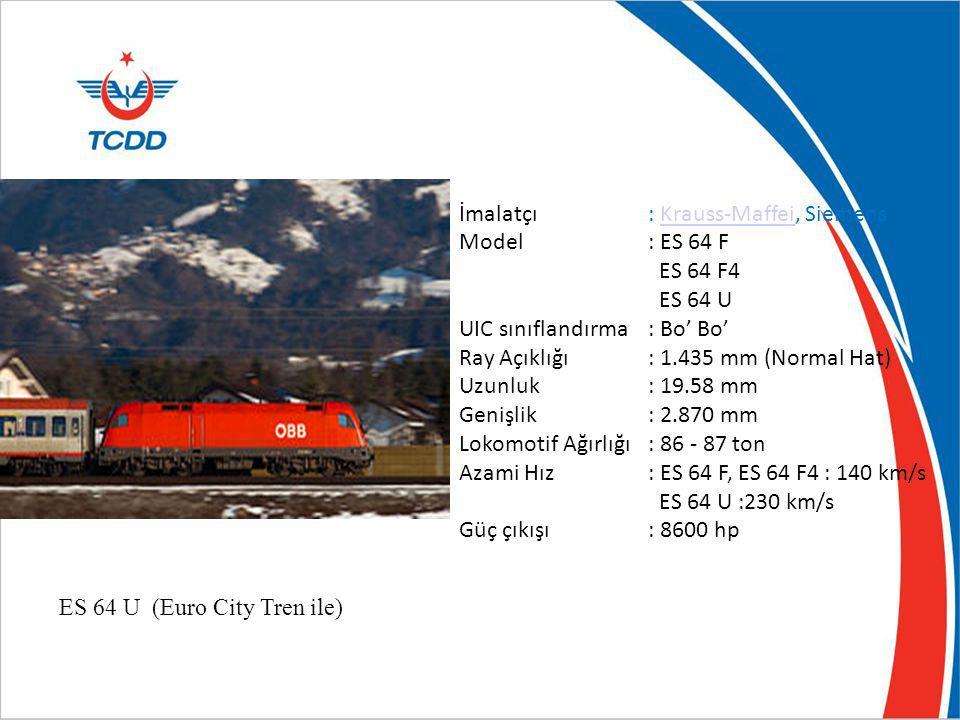 ES 64 U (Euro City Tren ile) İmalatçı: Krauss-Maffei, SiemensKrauss-Maffei Model: ES 64 F ES 64 F4 ES 64 U UIC sınıflandırma: Bo' Bo' Ray Açıklığı: 1.