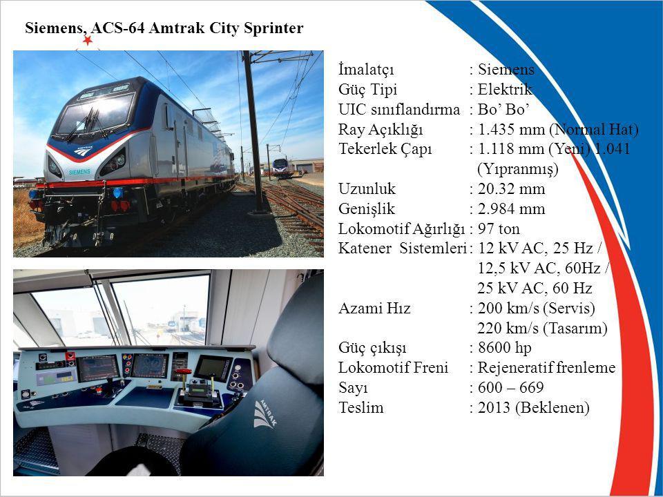 Siemens, ACS-64 Amtrak City Sprinter İmalatçı: Siemens Güç Tipi : Elektrik UIC sınıflandırma: Bo' Bo' Ray Açıklığı: 1.435 mm (Normal Hat) Tekerlek Çap