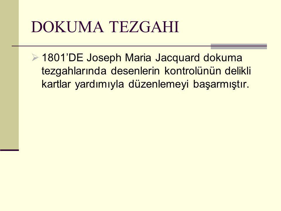  1801'DE Joseph Maria Jacquard dokuma tezgahlarında desenlerin kontrolünün delikli kartlar yardımıyla düzenlemeyi başarmıştır.