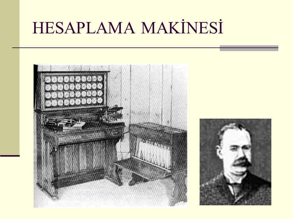  1890'da Herman Hollerith tarafından, delikli kartlarla bilgilerin yüklenebildiği ve bu bilgiler üzerinde toplama işlemlerinin yapılabildiği bir elektro mekanik araç geliştirdi.