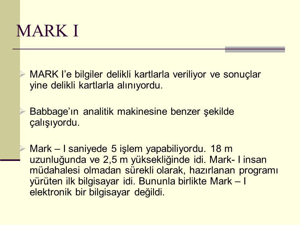 MARK I  MARK I'e bilgiler delikli kartlarla veriliyor ve sonuçlar yine delikli kartlarla alınıyordu.