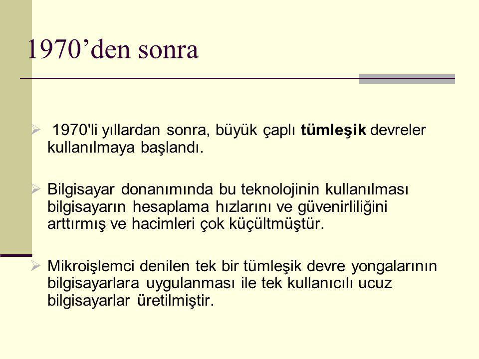 Dünya' daki Internet'e bağlı bilgisayar sayısı 1990 yılında 1 milyon 1995 yılında 16 milyon 2000 yılında 305 milyon 2005 yılında 1 milyar Türkiye'deki Internet'e Bağlı Bilgisayar Sayısı 1995 yılında 45 bin 2005 yılında 2 milyon 2010 yılında 10 milyon Türkiye'de telefon, bilgisayar, Internet kullanımı Telefon : Evlerin % 81,8 işyerlerinin % 53,7 de kullanılıyor.