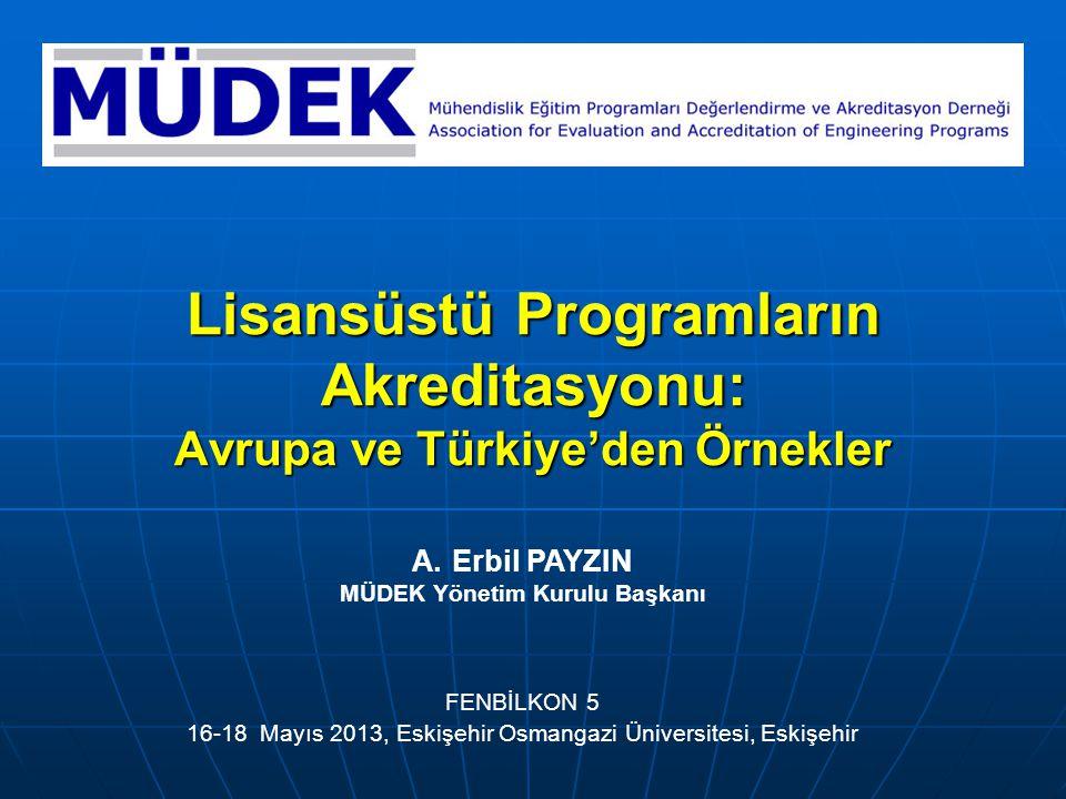 Lisansüstü Programların Akreditasyonu: Avrupa ve Türkiye'den Örnekler FENBİLKON 5 16-18 Mayıs 2013, Eskişehir Osmangazi Üniversitesi, Eskişehir A.Erbi
