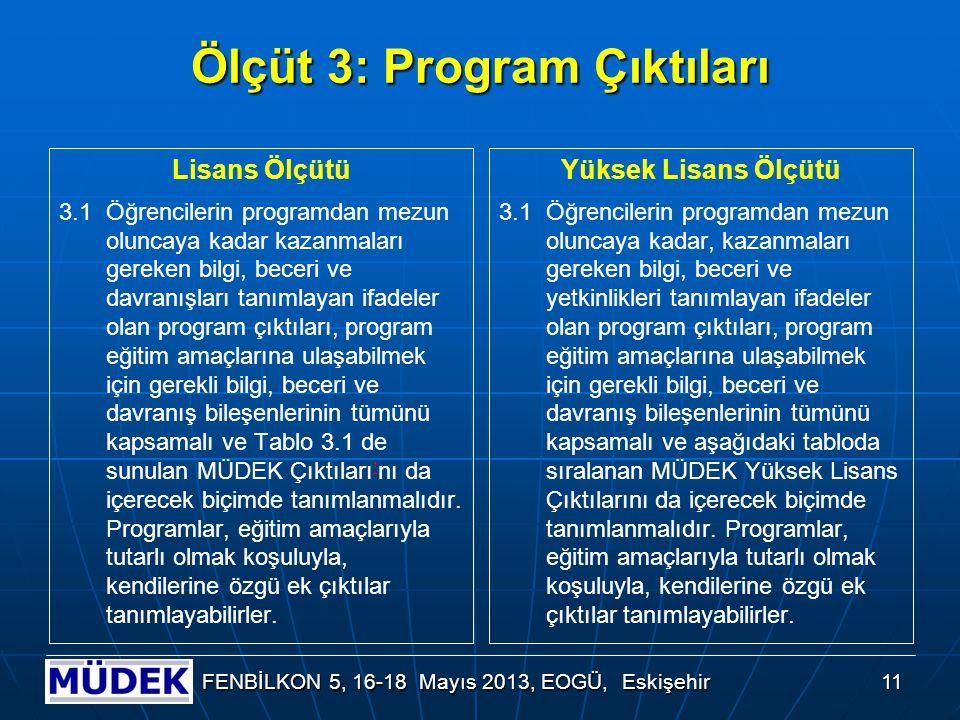 11 FENBİLKON 5, 16-18 Mayıs 2013, EOGÜ, Eskişehir Ölçüt 3: Program Çıktıları Lisans Ölçütü 3.1 Öğrencilerin programdan mezun oluncaya kadar kazanmalar