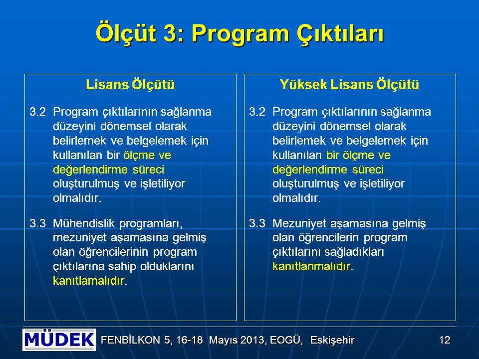 12 FENBİLKON 5, 16-18 Mayıs 2013, EOGÜ, Eskişehir Ölçüt 3: Program Çıktıları Lisans Ölçütü 3.2Program çıktılarının sağlanma düzeyini dönemsel olarak b