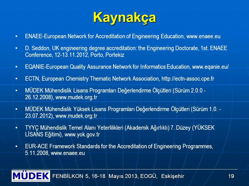 19 FENBİLKON 5, 16-18 Mayıs 2013, EOGÜ, Eskişehir Kaynakça ENAEE-European Network for Accreditation of Engineering Education, www.enaee.eu D. Seddon,