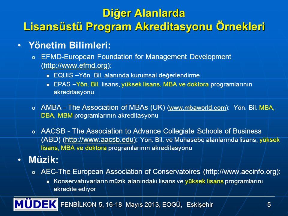 Diğer Alanlarda Lisansüstü Program Akreditasyonu Örnekleri Yönetim Bilimleri: o EFMD-European Foundation for Management Development (http://www.efmd.o