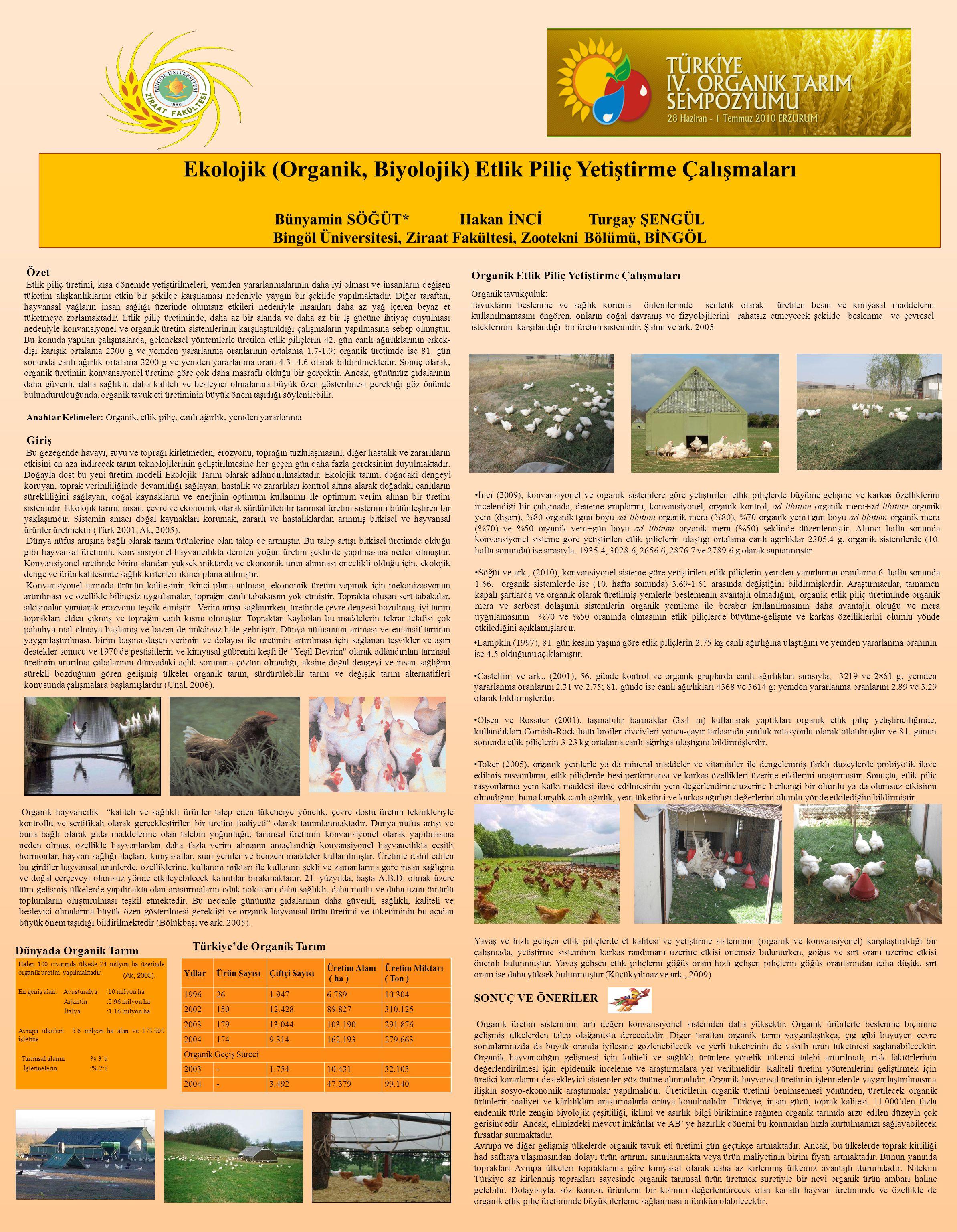 Ekolojik (Organik, Biyolojik) Etlik Piliç Yetiştirme Çalışmaları Bünyamin SÖĞÜT* Hakan İNCİ Turgay ŞENGÜL Bingöl Üniversitesi, Ziraat Fakültesi, Zoote