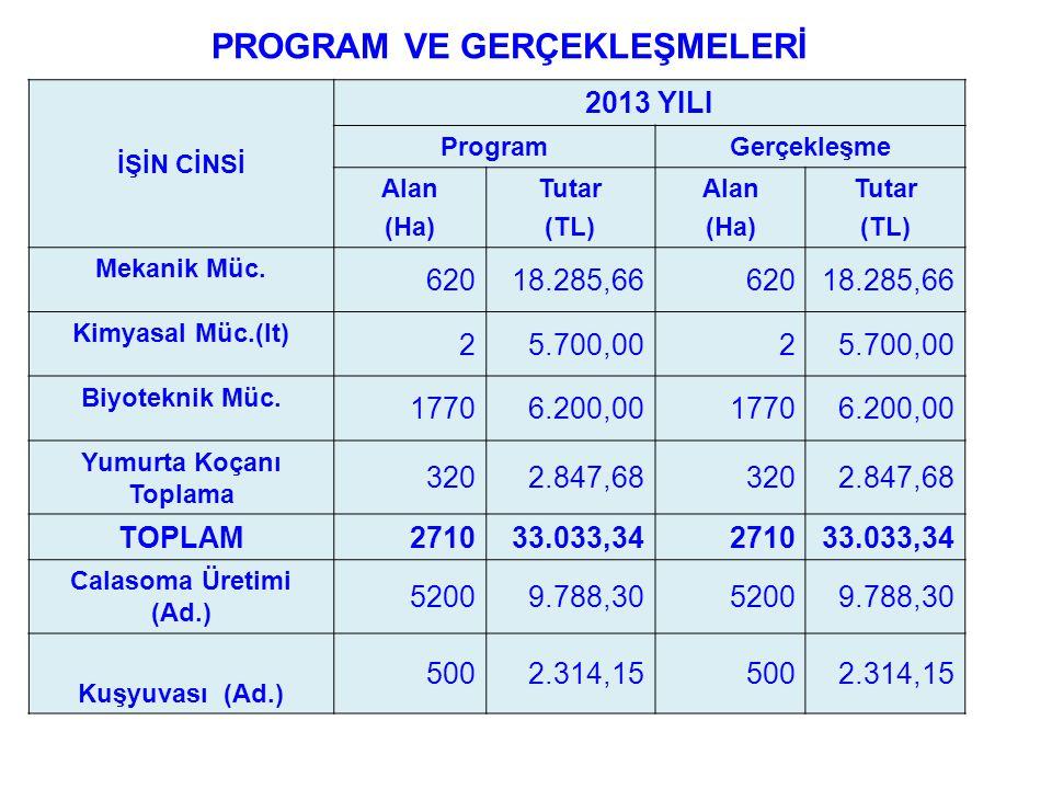 PROGRAM VE GERÇEKLEŞMELERİ İŞİN CİNSİ 2013 YILI ProgramGerçekleşme Alan (Ha) Tutar (TL) Alan (Ha) Tutar (TL) Mekanik Müc. 62018.285,6662018.285,66 Kim