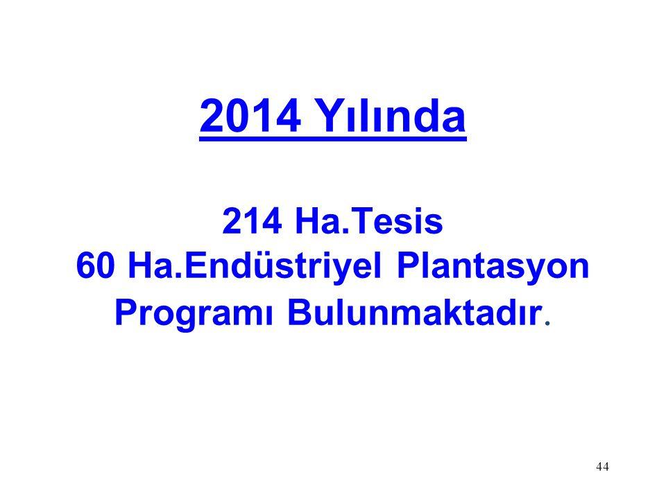 2014 Yılında 214 Ha.Tesis 60 Ha.Endüstriyel Plantasyon Programı Bulunmaktadır. 44