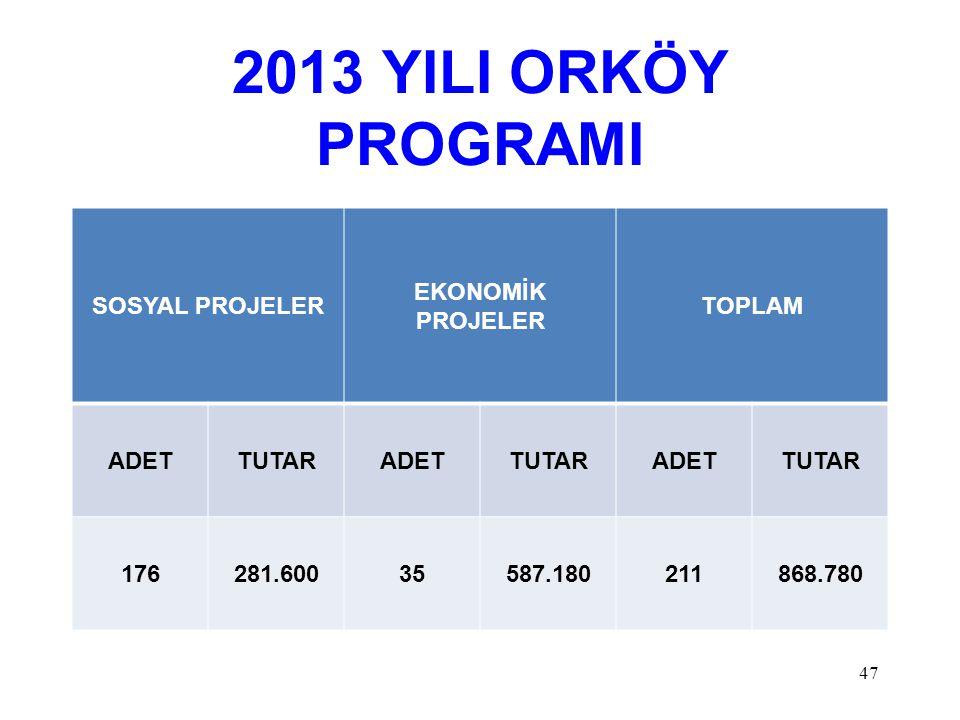 2013 YILI ORKÖY PROGRAMI SOSYAL PROJELER EKONOMİK PROJELER TOPLAM ADETTUTARADETTUTARADETTUTAR 176281.60035587.180211868.780 47
