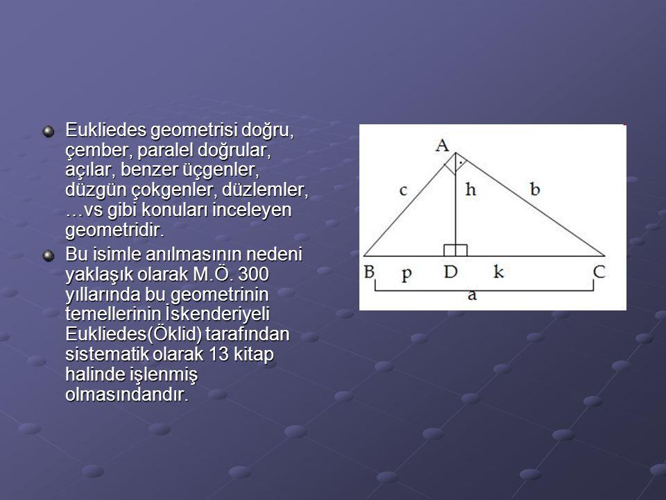 Bu geometri üç temel kavrama dayandırılmıştır: tanımlar, aksiyomlar ve postülatlar.