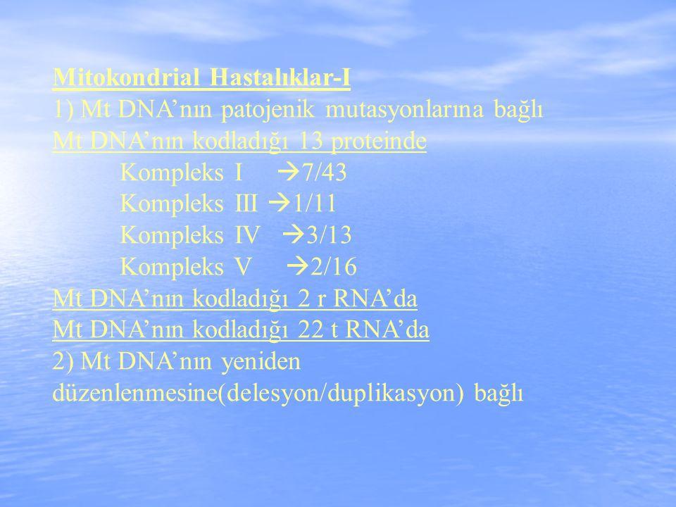 Mitokondrial Hastalıklar-I 1) Mt DNA'nın patojenik mutasyonlarına bağlı Mt DNA'nın kodladığı 13 proteinde Kompleks I  7/43 Kompleks III  1/11 Kompleks IV  3/13 Kompleks V  2/16 Mt DNA'nın kodladığı 2 r RNA'da Mt DNA'nın kodladığı 22 t RNA'da 2) Mt DNA'nın yeniden düzenlenmesine(delesyon/duplikasyon) bağlı