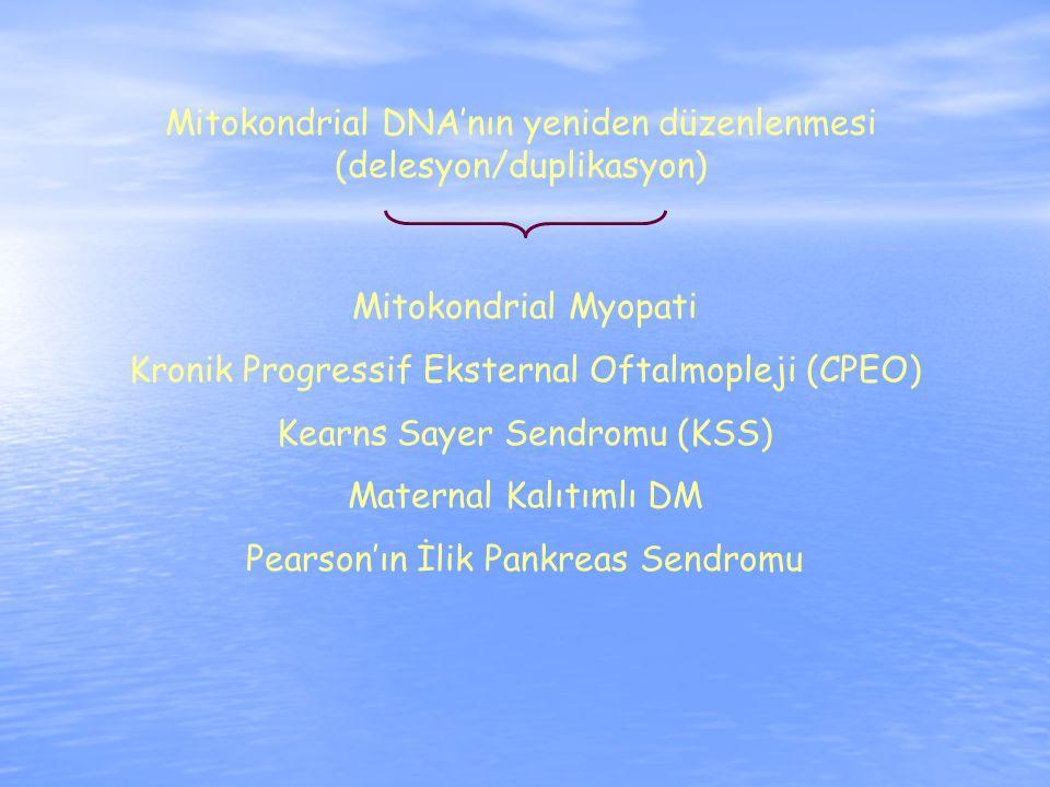 Mitokondrial DNA'nın yeniden düzenlenmesi (delesyon/duplikasyon) Mitokondrial Myopati Kronik Progressif Eksternal Oftalmopleji (CPEO) Kearns Sayer Sendromu (KSS) Maternal Kalıtımlı DM Pearson'ın İlik Pankreas Sendromu